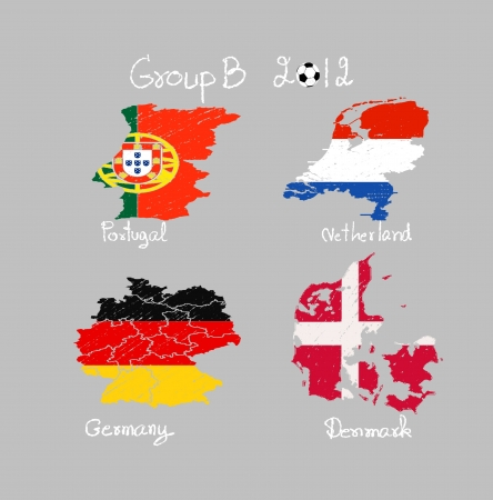 Hand drawing participating teams of Group B European football isolated gray background Stock Photo - 13638215