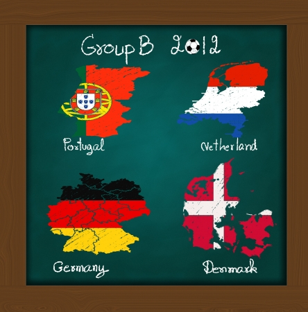 Hand drawing participating teams of Group B European football on high resolution green chalkboard photo