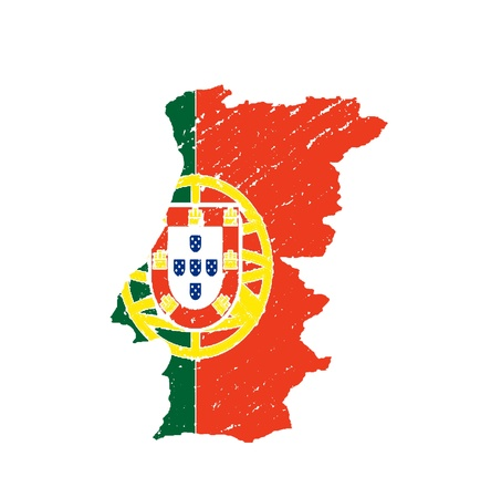 Portugal  map flag artwork isolated  on white background photo