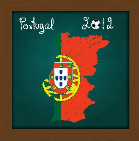 Portugal map flag and soccer ball  on high resolution green chalkboard photo