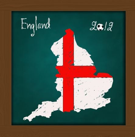 England map flag and soccer ball  on high resolution green chalkboard photo