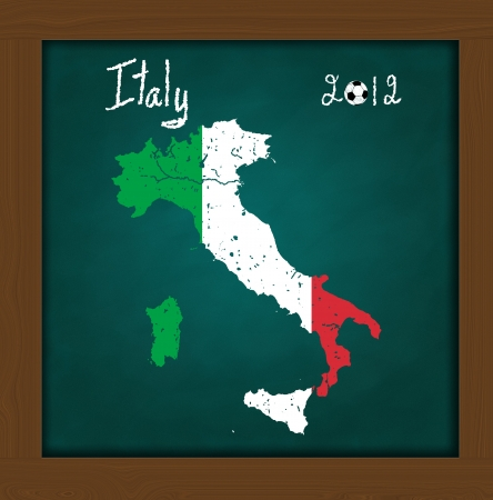 Italy map flag and soccer ball  on high resolution green chalkboard photo
