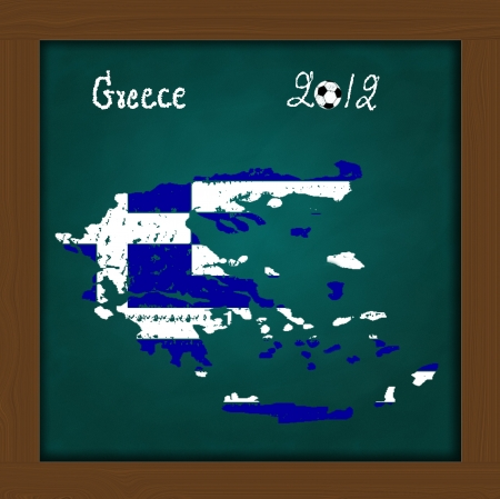 Greece map flag and soccer ball  on high resolution green chalkboard photo