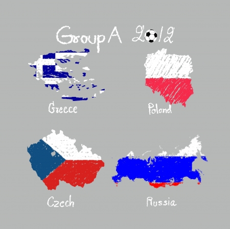 hand drawing participating teams of Group A European football isolated photo