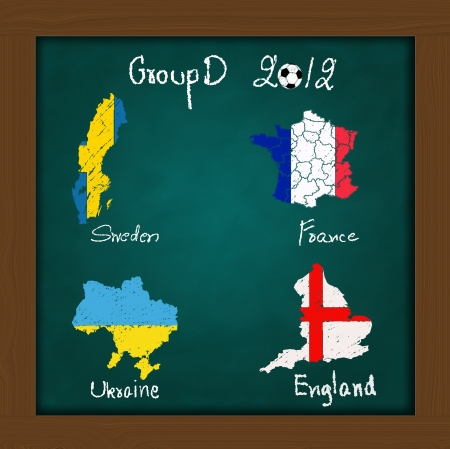 Hand drawing participating teams of Group D European football on high resolution green chalkboard photo