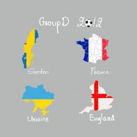 hand drawing participating teams of Group D European football isolated photo