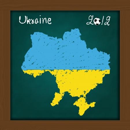 Ukraine map flag and soccer ball  on high resolution green chalkboard photo
