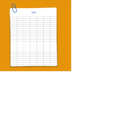 Metal paper clip and monthly planner grid paper Stock Vector - 13927174