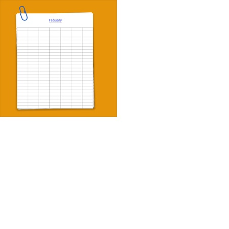 metalic design: Metal paper clip and monthly planner grid paper,vector