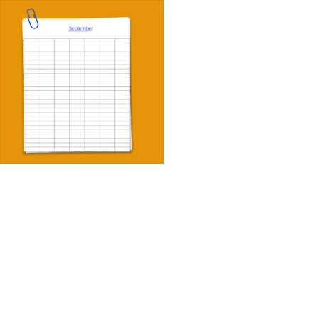 metalic sheet: Metal paper clip and monthly planner grid paper,vector
