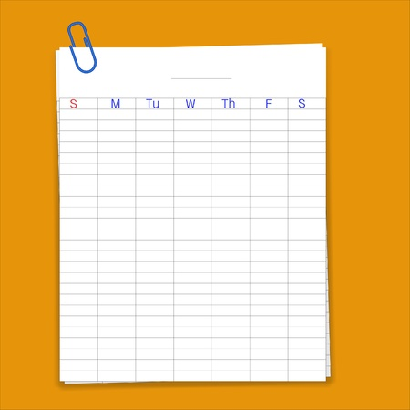 Metal paper clip and weekly planner sheet grid paper,vector Vector
