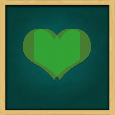 Love Background and green chalkboard frame   conceptual Stock Photo - 13964432