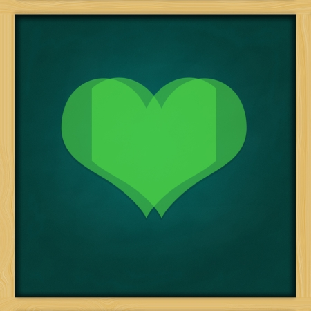 Love Background and green chalkboard frame   conceptual Stock Photo - 13964438