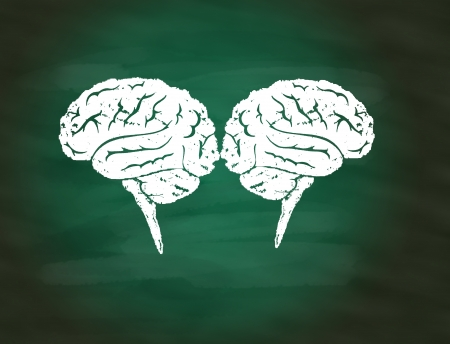 Brainstorming concept,drawing of brain maze puzzle on green chalkboard photo
