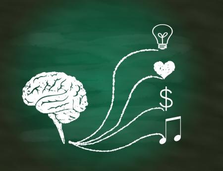 concept � succ�s, dessin � la main labyrinthe du cerveau puzzle sur tableau vert Banque d'images