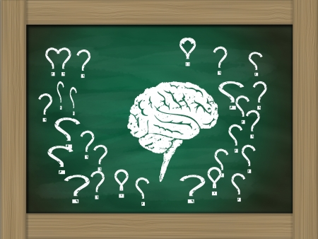 brain thinking conceptual on green chalkboard photo