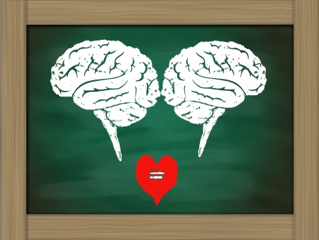 Brain connection to heart ,drawing on green chalkboard photo