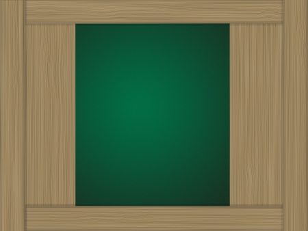 Wood showcase and green background photo