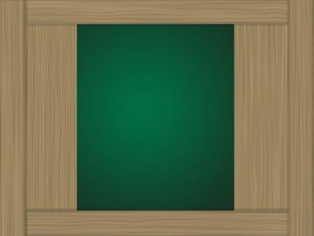 Wood showcase and green background photo