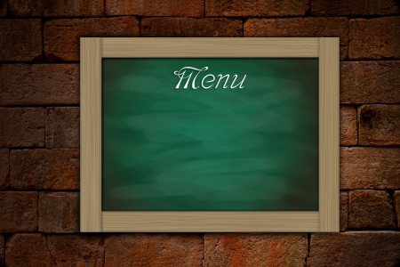 grune: Menu on grune green chalkboard and old brickwall background Stock Photo