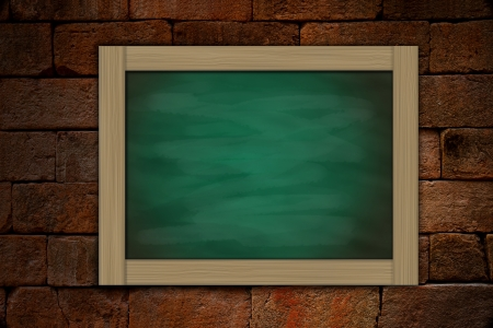 grune: grune green chalkboard on old brick wallbackground Stock Photo