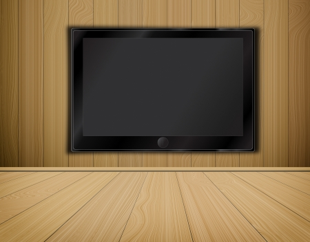 lcd TV screen on wood background,room interior