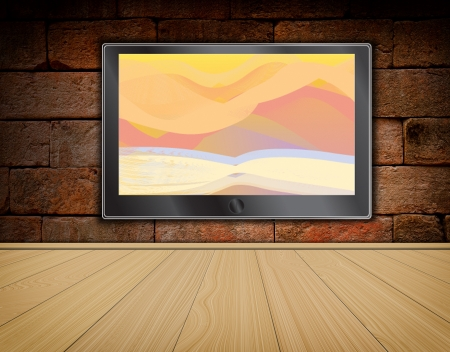 lcd TV screen on brick wall background and wood floor ,room interior photo
