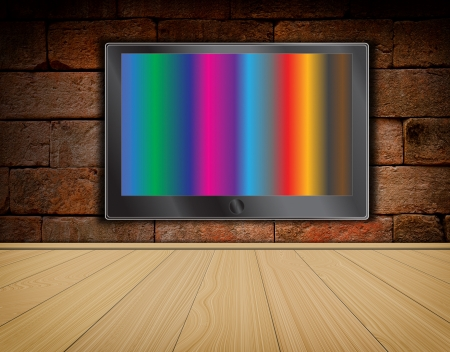 lcd TV screen on brick wall background and wood floor ,room interior Stock Photo - 14031816