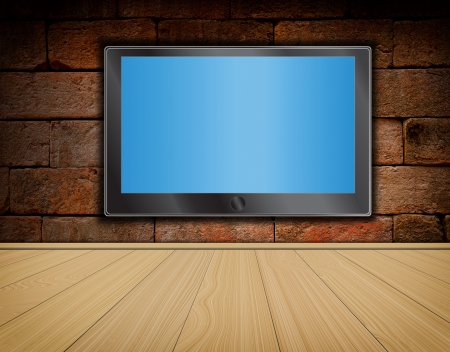 video wall: lcd TV screen on brick wall background and wood floor ,room interior