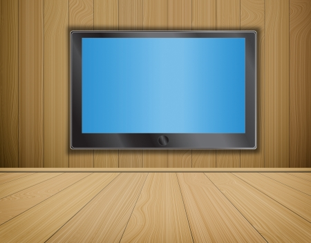 video wall: lcd TV screen on wood background,room interior