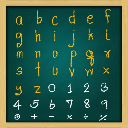 English alphabet - rough handwriting with yellow and white  chalk on old green chalkboard photo