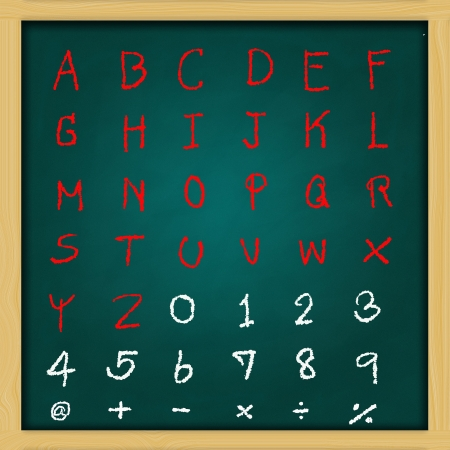 english alphabet - rough handwriting with red and white  chalk on old green chalkboard photo