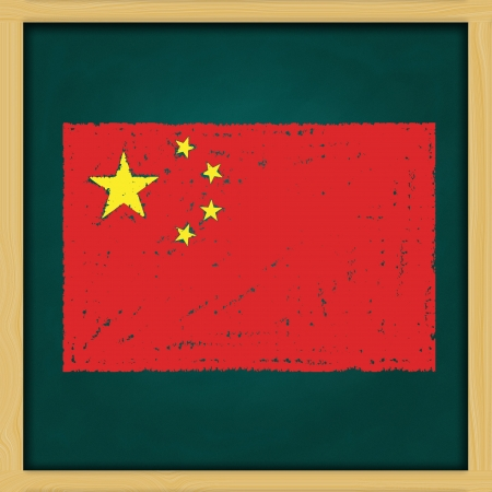 hand drawing China grunge flag artwork on high resolution green chalkboard photo