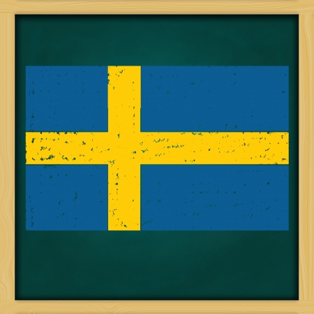 hand drawing Sweden grunge flag artwork on high resolution green chalkboard photo