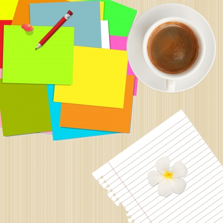 pile of colorful post it,pencil,paper and coffee cup on wood background photo