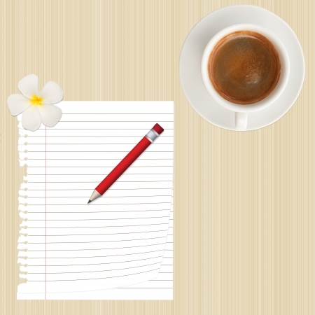pencil,paper,flower and coffee cup on wood background photo