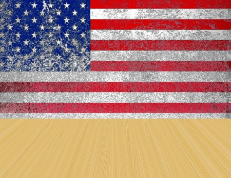 united states  grunge flag background and wooden floor photo