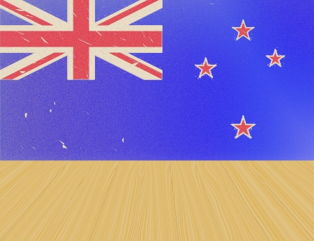 new zealand grunge flag background and wooden floor photo