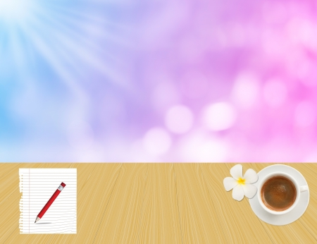 coffee cup and paper plane on yellow wood floor with purple, blue , pink pastel colorful background photo
