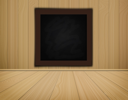 grunge chalkboard on wood background  and wood floor high resolution photo