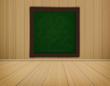 green grunge chalkboard on wood background  and wood floor high resolution photo