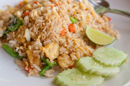 chicken rice: Tofu and vegetable fried rice,Thai menu Stock Photo