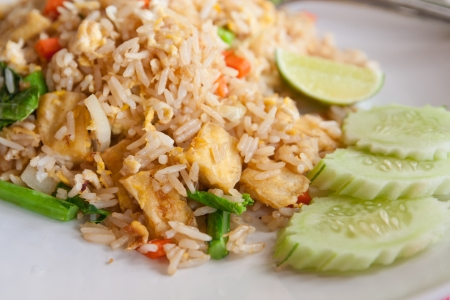 Tofu and vegetable fried rice,Thai menu photo