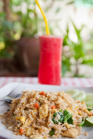 REd watermelon juice and tofu  vegetable fried rice,Thai menu photo