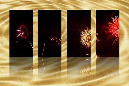 artwork of fireworks selection and reflections on abstract background photo