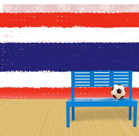 soccer ball and blue chair wooden floor with Thailand grunge flag background photo