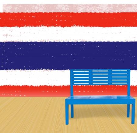 blue chair wooden floor with Thailand grunge flag background photo