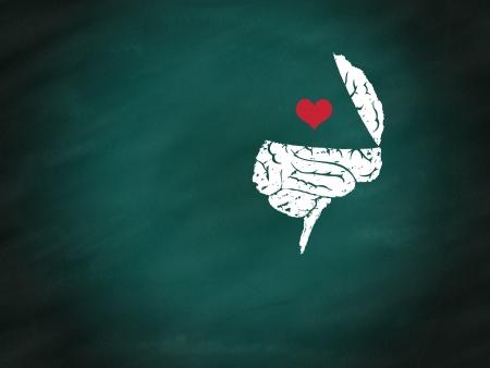 cerebro blanco y negro: Cerebro conexi�n con el coraz�n por el dibujo a mano en la pizarra verde, las relaciones de concepto