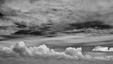 downpour: Abstract black and white clouds background