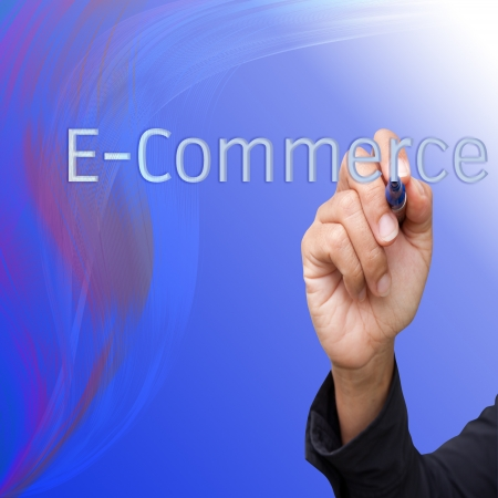 business  hand writing   E-commerce on abstract lines background photo